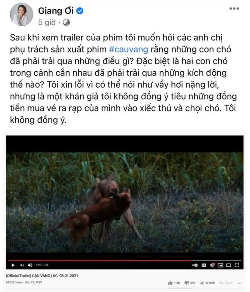 vlogger nổi tiếng Giang Ơi cũng đã gay gắt chỉ trích Cậu Vàng