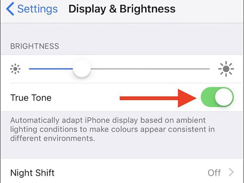 cách bật tắt true tone trên iphone, ipad